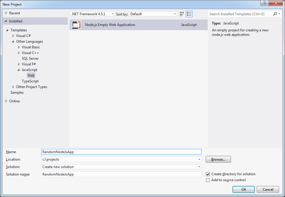 Developing node js applications in Visual Studio